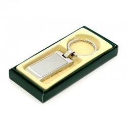 Rectangular keyring in silver metal 3x8.5 cm