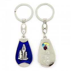 Portachiavi Madonna di Lourdes smalto blu 3x10 cm
