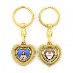 Portachiavi cuore girevole Madonna Rosa Mistica 3,3x8,5 cm