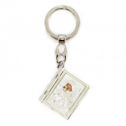 Keychain in oxidized metal opening book with rosary 3x9 cm