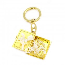Keychain in oxidized gold metal opening book with rosary 3x9 cm
