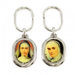 Keychain Saint Joan Antida and Saint Agostina 2,8x7 cm