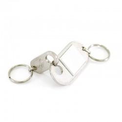 Detachable double ring keychain 8 cm