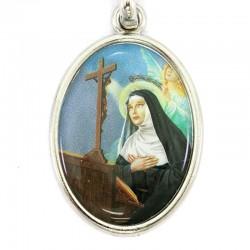 Santa Rita enamelled oval keychain 2,8x9 cm