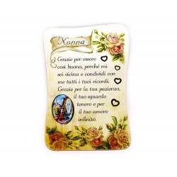 Calamita pergamena con dedica alla nonna 5,5x8 cm