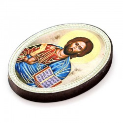 Oval Magnet Christ with open book 5.7x7.7 cm