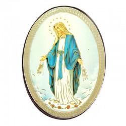 Calamita ovale in legno Madonna Miracolosa 5,7x7,7 cm