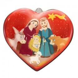 Heart Magnet with Nativity Scene 7x6 cm