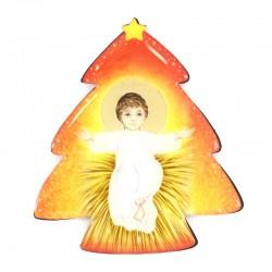 Magnete resinato Abete con Gesù Bambino 6x6,5 cm