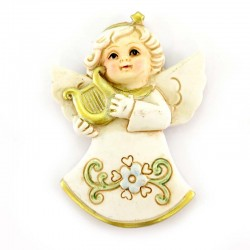 Angel magnet with musical instrument resin 5x7 cm