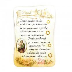 Parchment Magnet St. Joseph dedication to fathers 5.5x8 cm