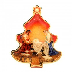 Resin magnet Tree with Nativity 6,5x8 cm
