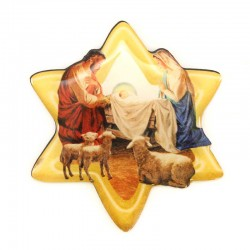 Resin magnet Star with Nativity 6x6,5 cm