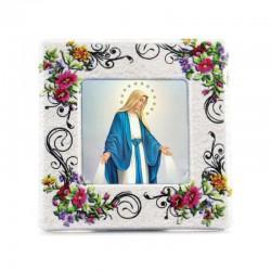Quadretto personalizzato in ceramica floreale 8x8x2,5 cm