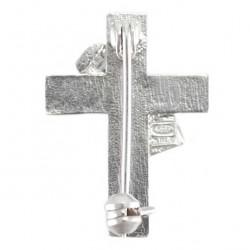Brooch for Deacons Silver 925°° Violet Enamel 2x2.5 cm