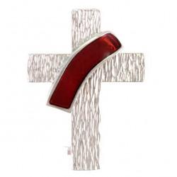 Brooch for Deacons Silver 925°° Red Enamel 2x2.5 cm