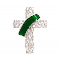 Spilla per Diacono argento 925°° smalto verde 2x2,5 cm