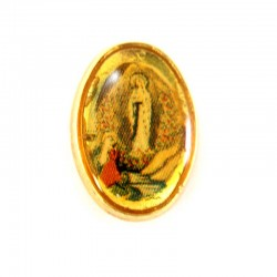 Our Lady of Lourdes badge in gold metal 1x1,5 cm