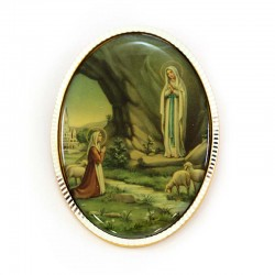 Oval badge Our Lady of Lourdes 5x6.5 cm