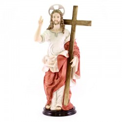 Statua Cristo con Croce in resina colorata 45 cm