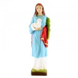 Statua Sant'Agnese in resina colorata 20 cm