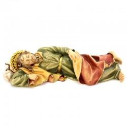 Statua San Giuseppe dormiente in legno colorato 18 cm