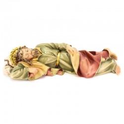 Statua San Giuseppe dormiente in legno colorato 23 cm