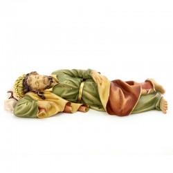 Statua San Giuseppe dormiente in legno colorato 35 cm