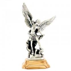 Statua San Michele in metallo base legno 24 cm