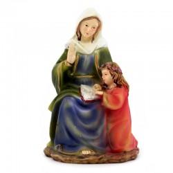 Statua Sant'Anna seduta in resina colorata 9 cm