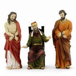 Statua di Gesù, Caifa e Barabba in resina colorata 13 cm