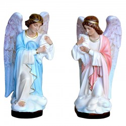 Coppia Angelo porta candelabro in resina 45 cm