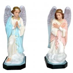 Coppia Angelo in adorazione vetroresina dipinta 110 cm