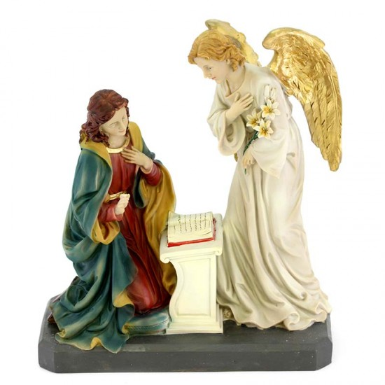 Annunciation Statue in colored resin 31 cm