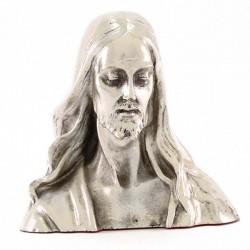 Busto Volto di Gesù resina argentata 12 cm