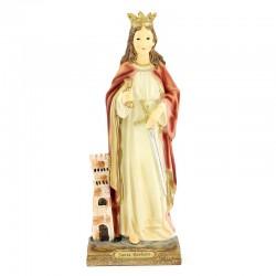 Statua Santa Barbara in resina colorata 31 cm