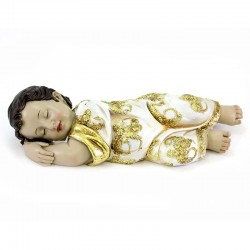 Gesù Bambino dormiente in resina veste oro 31,5 cm
