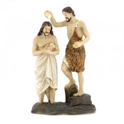 Statua scena Battesimo di Gesù resina colorata 9 cm