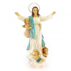 Statua Madonna Assunta con Angeli resina 18 cm