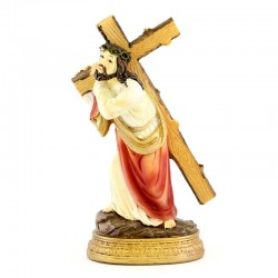 Statue of Jesus carrying the cross in resin 13 cm