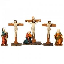 Scena Crocifissione di Gesù in resina colorata 14 cm