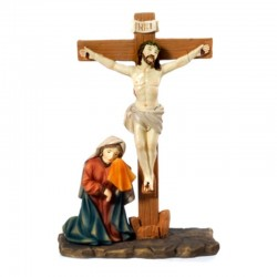 Scene of the Crucifixion of Jesus in colored resin 14 cm