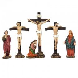 Scena Crocifissione di Gesù in resina colorata 22 cm