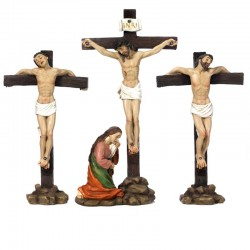 Scene of Crucifixion of Jesus in colored 22 cm