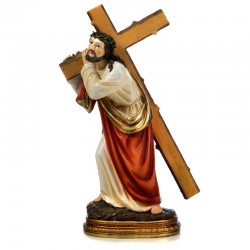 Jesus carrying the cross statue in resin 29,3 cm
