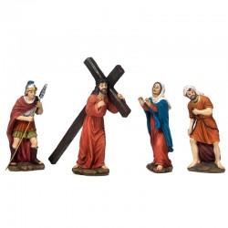 Scena la salita al Calvario di Gesù in resina 16 cm