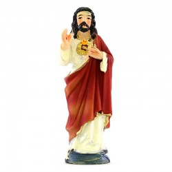 Sacred Heart of Jesus colored resin statue 9 cm