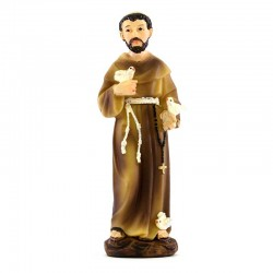 Saint Francis of Assisi colored resin statue 9 cm