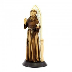 St. Francis statue in resin with glass window 28 cm