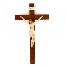 Crocifisso corpo in resina croce legno 24x40 cm